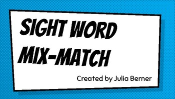 Basketball Sight Words Mix-Match