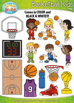 Basketball Sports Kid Characters Clipart Set Set — Include