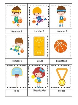 Basketball Sports (boys) Three Part Matching preschool edu
