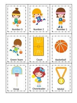Basketball Sports (girls) Three Part Matching preschool ed