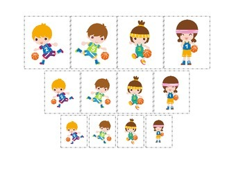 Basketball Sports themed Size Sorting preschool educationa