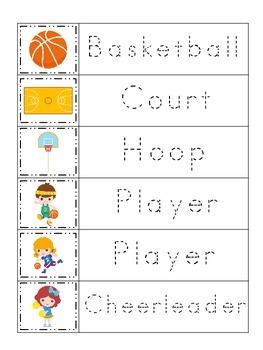 Basketball Sports themed Trace the Word preschool educatio