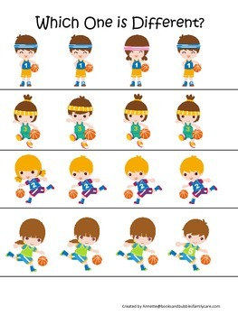 Basketball Sports themed Which One is Different preschool