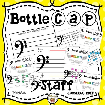 Bass Clef Bottle Cap Staff and Cards