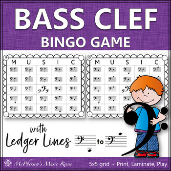 Bass Clef Bingo Game with ledger lines