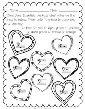 Bass Clef Note Identification: Hearts Theme