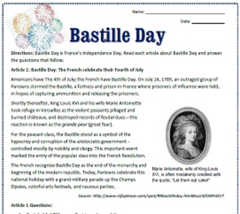 Bastille Day Reading / Sub Plan for French Class