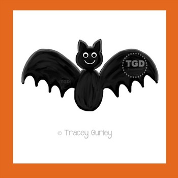 Bat Art, hand painted clip art, halloween Printable Tracey