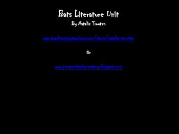 Bat Common Core Literature and Informational Text Unit for