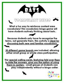 Bat Vocabulary Bingo