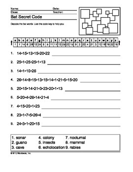 Bat Word Search, Secret Code and Word Scramble Printables