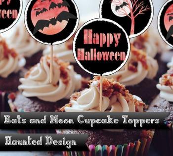 Bat and Moon Cupcake topper DIY 2 inch party circles