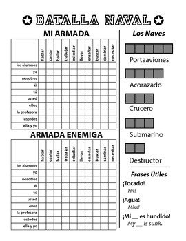 Batalla Naval - Spanish Battleship Game - Regular AR Verbs