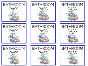 Bathroom Passes (Blue & Pink)