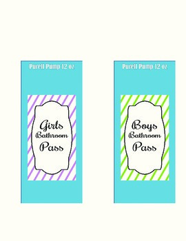 Bathroom Passes to fit Purell Bottle
