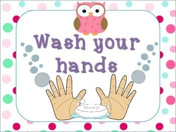 Bathroom Reminder Signs Owl Theme