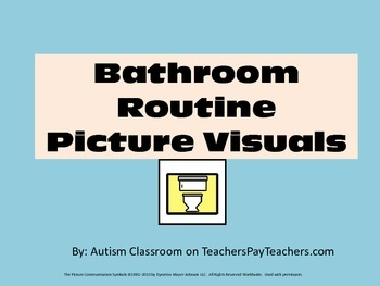 Special Education Bathroom Routine Picture Visuals- Large