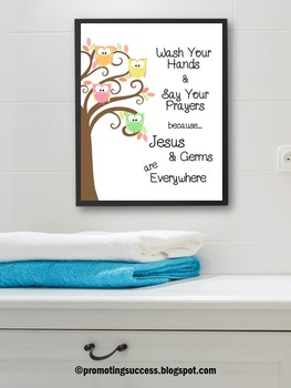 wash your hands Jesus and Germs Bathroom Sign Poster