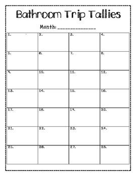 Bathroom Trip Tally Chart