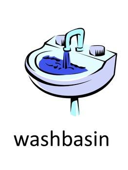 Bathroom Vocabulary + Sentences Flash Cards