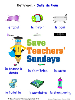Bathroom in French Worksheets, Games, Activities and Flash