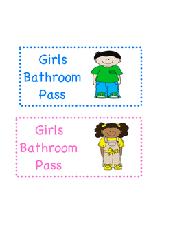 Bathroom pass - boys - girls - restroom - hall pass