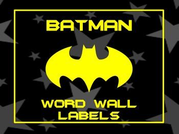Batman Word Wall Labels