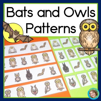 Bats and Owls Patterns Math Center with AB, ABC, AAB & ABB