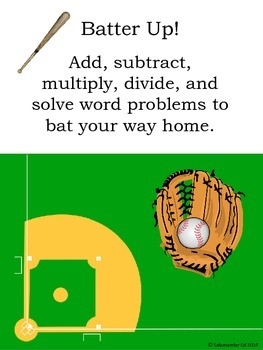 Batter up! Baseball Math for first, second, and third grade