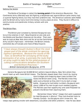 Battle of Saratoga Student Reading/Questions