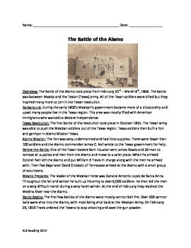 Battle of the Alamo - Review Article Questions timeline vo
