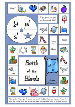 Battle of the Blends Board Game  pl, bl and sl