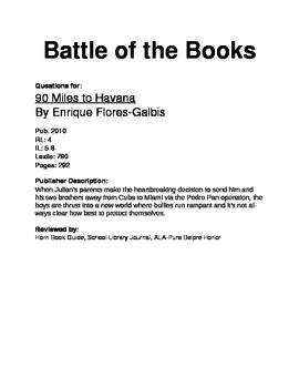 Battle of the Books Questions - 90 Miles to Havana