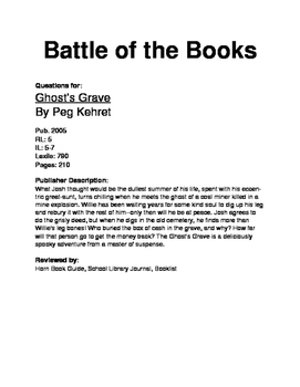 Battle of the Books Questions - Ghost's Grave