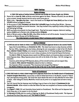 Battles of WWII Summary