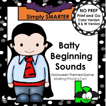 Batty Beginning Sounds:  NO PREP Halloween Themed Game