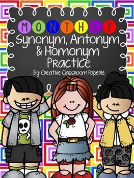 Synonym, Antonym & Homonym Practice (Monthly/holiday theme