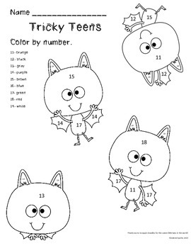 Batty Tricky Teens Color By Number