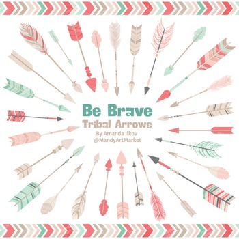 Be Brave Tribal Arrow Clipart & Vectors in Mint & Coral -