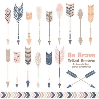 Be Brave Tribal Arrow Clipart & Vectors in Navy & Blush -