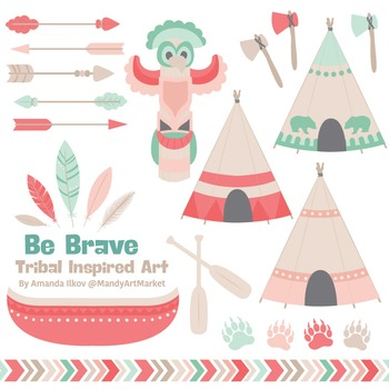 Be Brave Tribal Clipart & Vectors in Mint & Coral - Tribal