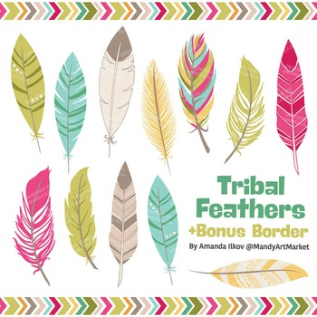 Be Brave Tribal Feathers Clipart & Vectors in Bohemian - F
