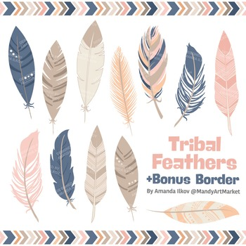 Be Brave Tribal Feathers Clipart & Vectors in Navy & Blush