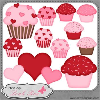 Be Mine Cupcakes 2 - Art by Leah Rae Clip Art & Line Art /