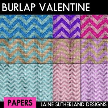 Be My Valentine - Burlap, Chevron and Glitter Digital Paper