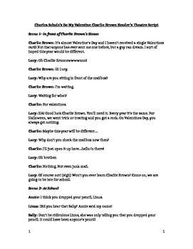 Be My Valentine Charlie Brown Reader's Theatre Script