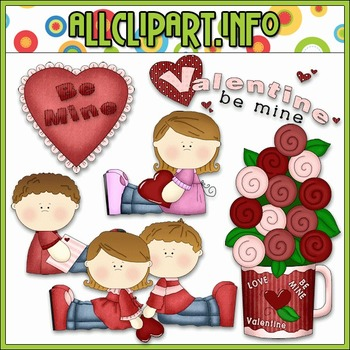 BUNDLED SET - Be My Valentine Clip Art & Digital Stamp Bun