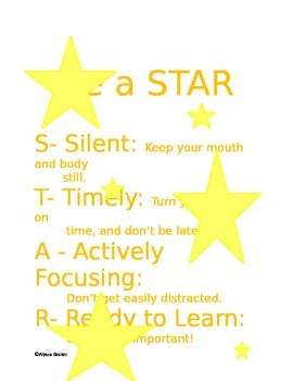 Be a STAR! - Great Poster for classroom management