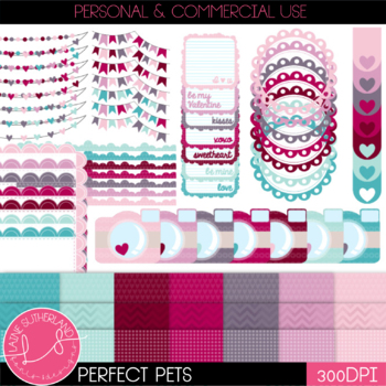 Be my Valentine Page Accent and Digital Paper Set