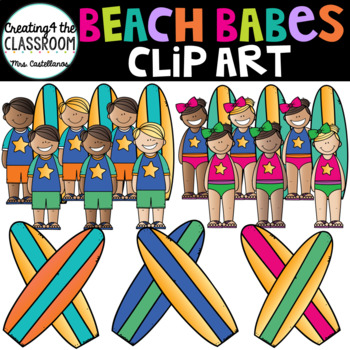 Beach Babes Clip Art {Kids at the Beach Clip Art}